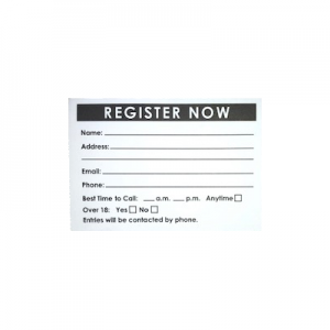 Lead Box Registration or Entry Pad - Pack of 6